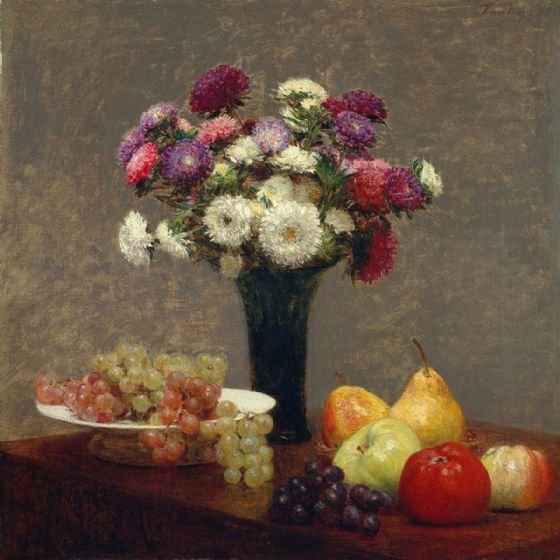 Fantin-Latour, Henri: Asters and Fruit on a Table. Fine Art Print/Poster (4944)